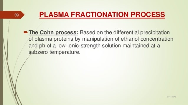 PLASMA FRACTIONATION PROCESS The Cohn process: Based on the differential precipitation of plasma proteins by manipulation...