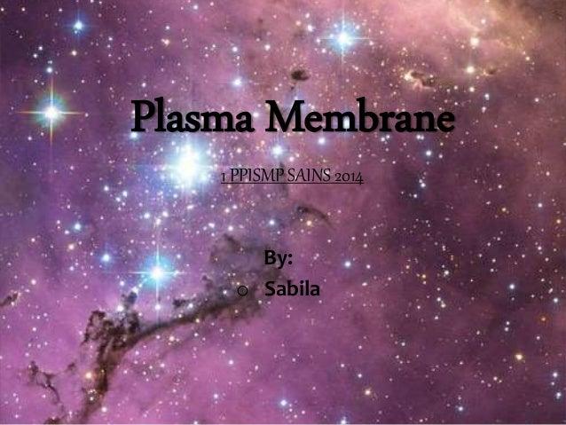 Plasma Membrane 1 PPISMP SAINS 2014 By: o Sabila