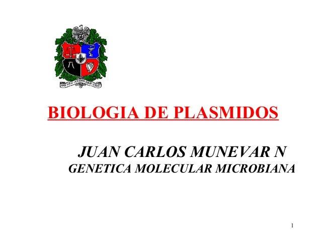 BIOLOGIA DE PLASMIDOS  JUAN CARLOS MUNEVAR N GENETICA MOLECULAR MICROBIANA                             1