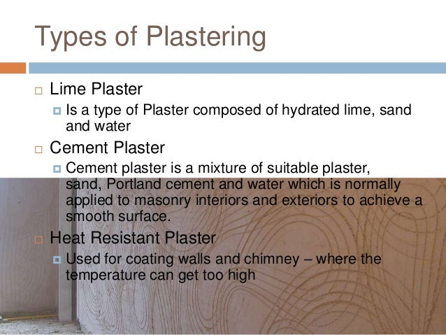 Types Of Plaster : Plastering tiles