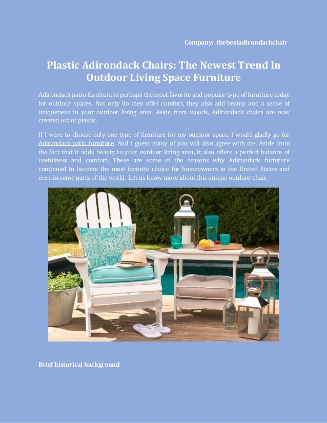 Company: thebestadirondackchair Plastic Adirondack Chairs: The Newest Trend In Outdoor Living Space Furniture Adirondack p...