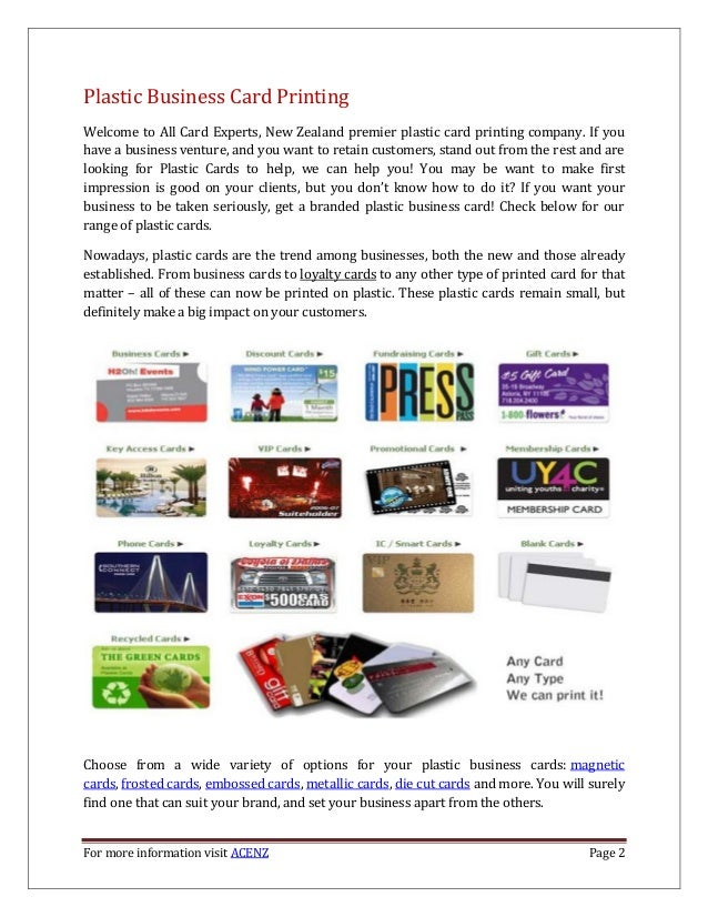 Plastic Business Card Printing – ACENZ