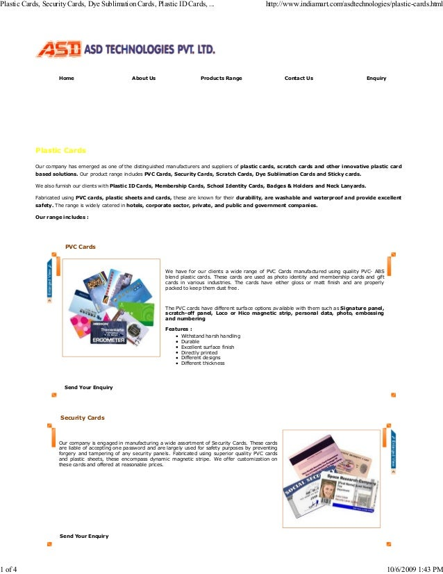 Home About Us Products Range Contact Us Enquiry Plastic Cards Our company has emerged as one of the distinguished manufact...