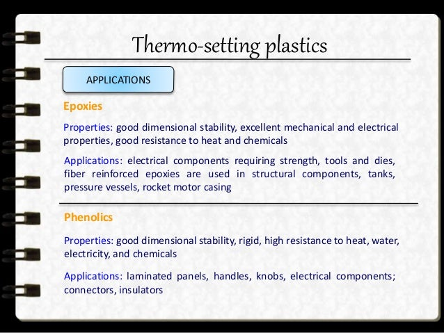 Thermo-setting plastics APPLICATIONS Polyesters (thermosetting, reinforced with glass fibers) Properties: good mechanical,...