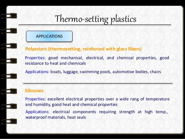 Thermo-setting plastics  Electronic chips  Fibre-reinforced composites  Polymeric coatings  Spectacle lenses  Dental ...