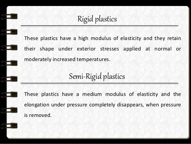 soft plastics  These plastics have a low modulus of elasticity and the elongation under pressure disappears slowly, when ...
