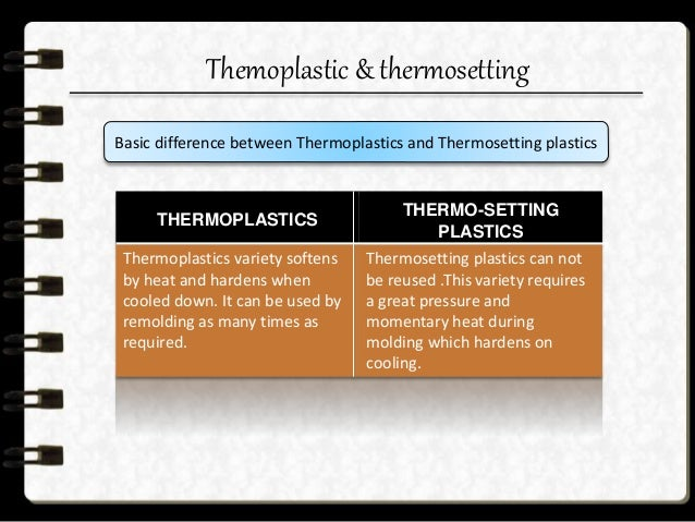 Thermo-plastics  The thermo-plastic or heat non-convertible group is the general term applied to the plastics which becom...
