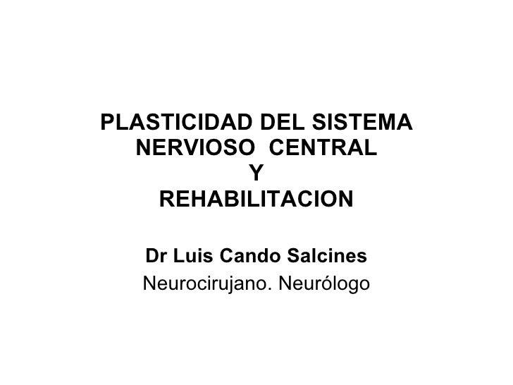 PLASTICIDAD DEL SISTEMA NERVIOSO  CENTRAL Y REHABILITACION Dr Luis Cando Salcines Neurocirujano. Neurólogo