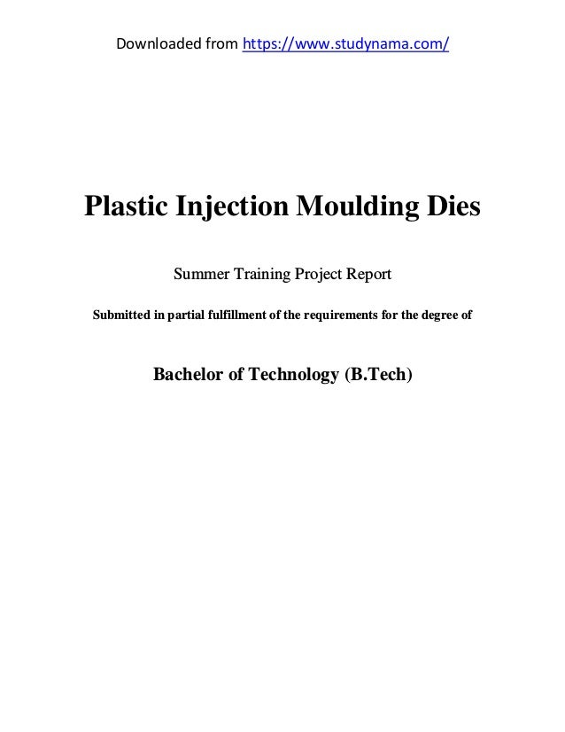 Plastic injection moulding dies mechanical engg  (me) summer