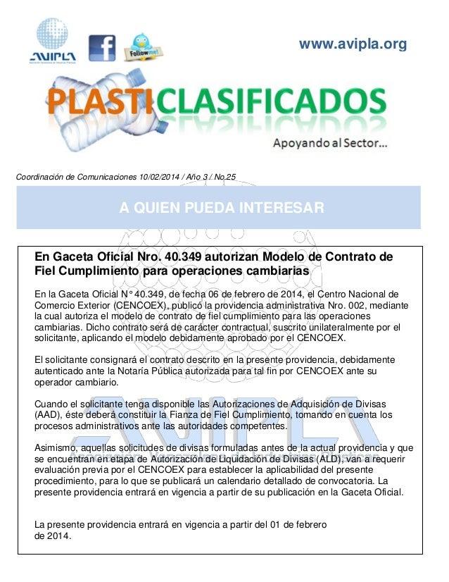 www.avipla.org Coordinación de Comunicaciones 10/02/2014 / Año 3 / No.25 www.avipla.org A QUIEN PUEDA INTERESAR En Gaceta ...