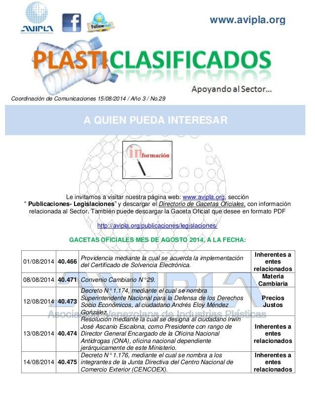www.avipla.org  Coordinación de Comunicaciones 15/08/2014 / Año 3 / No.29  Le invitamos a visitar nuestra página web: www....