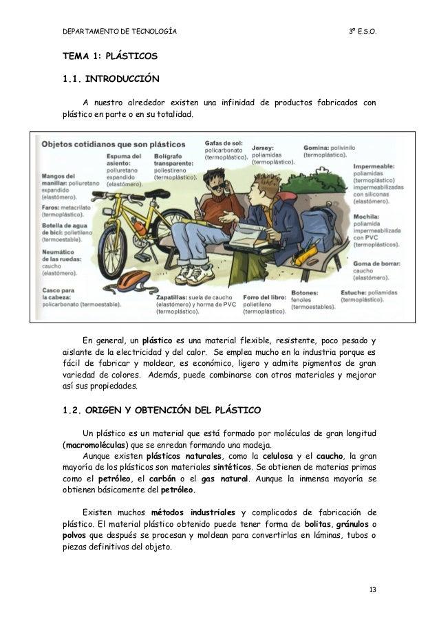 DEPARTAMENTO DE TECNOLOGÍA                                                3º E.S.O.TEMA 1: PLÁSTICOS1.1. INTRODUCCIÓN     ...
