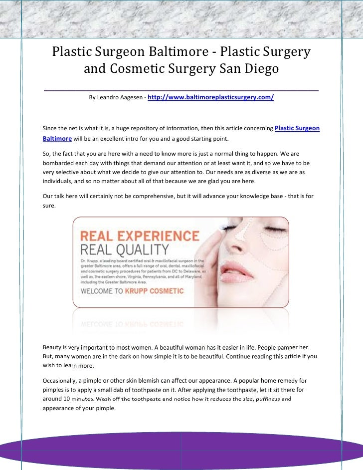 Plastic Surgeon Baltimore - Plastic Surgery       and Cosmetic Surgery San Diego__________________________________________...