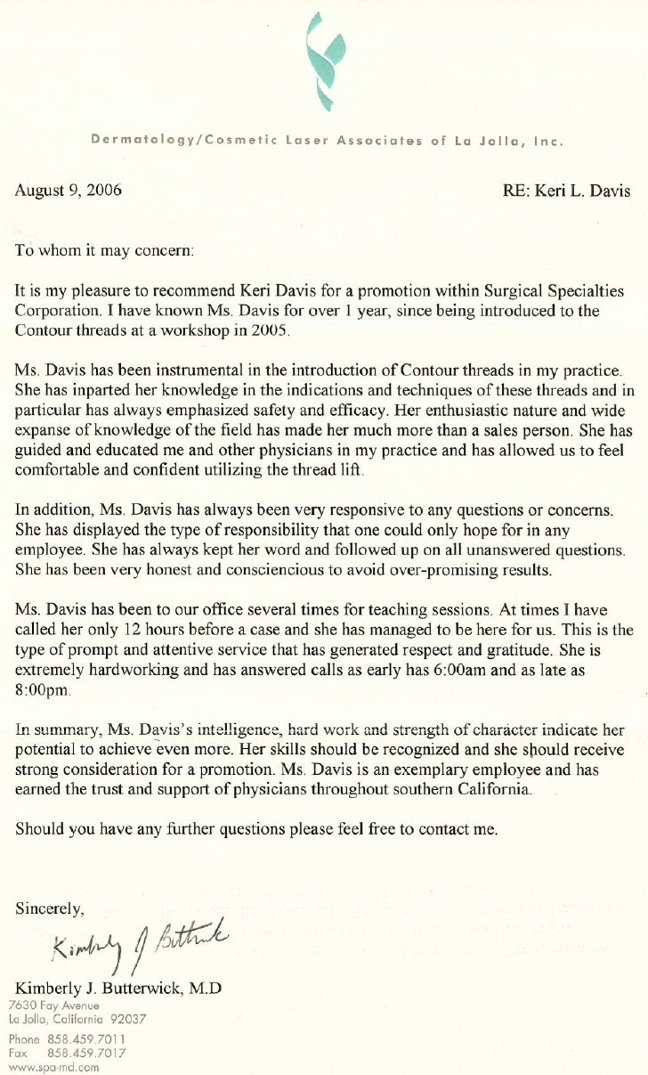 letter of recommendation surgery