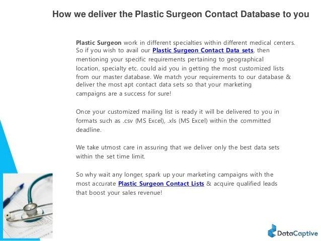 Plastic Surgeons Email List
