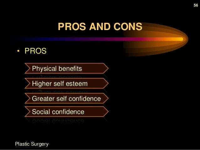 pros and cons of cosmetic surgery essay Reconstructive surgery may have both advantages and disadvantages the main advantage is that the surgery will correct physical defects, giving the patient a more desired appearance on the other hand, the costs of.