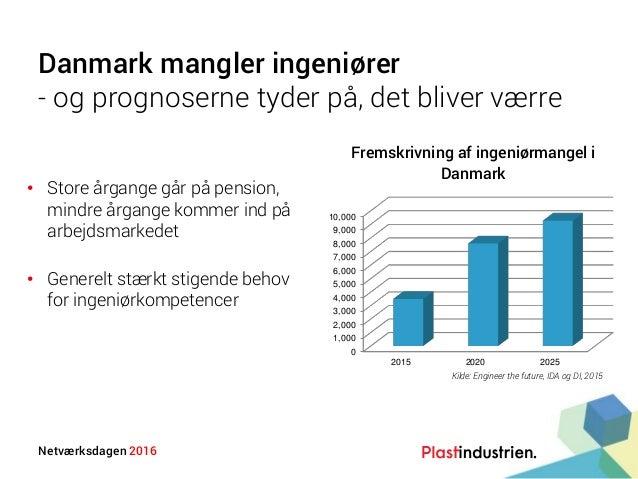 Netværksdagen 2016 Danmark mangler ingeniører - og prognoserne tyder på, det bliver værre • Store årgange går på pension, ...
