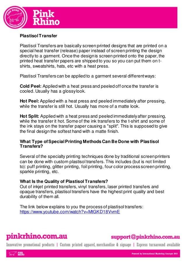 Plastisol transfer promotional branded merchandise