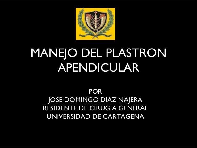 MANEJO DEL PLASTRON   APENDICULAR              POR  JOSE DOMINGO DIAZ NAJERA RESIDENTE DE CIRUGIA GENERAL  UNIVERSIDAD DE ...