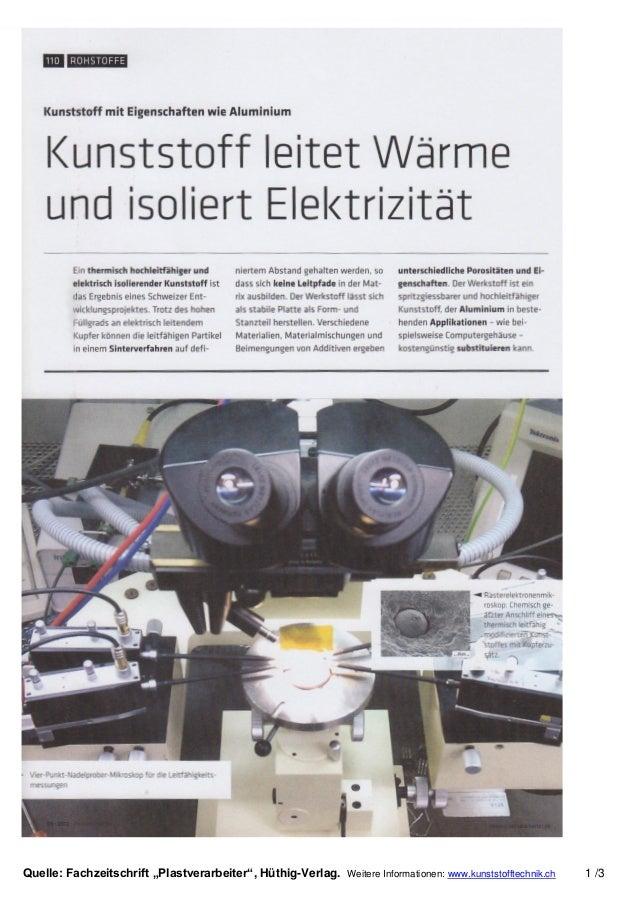 """Quelle: Fachzeitschrift """"Plastverarbeiter"""", Hüthig-Verlag. Weitere Informationen: www.kunststofftechnik.ch 1 /3"""