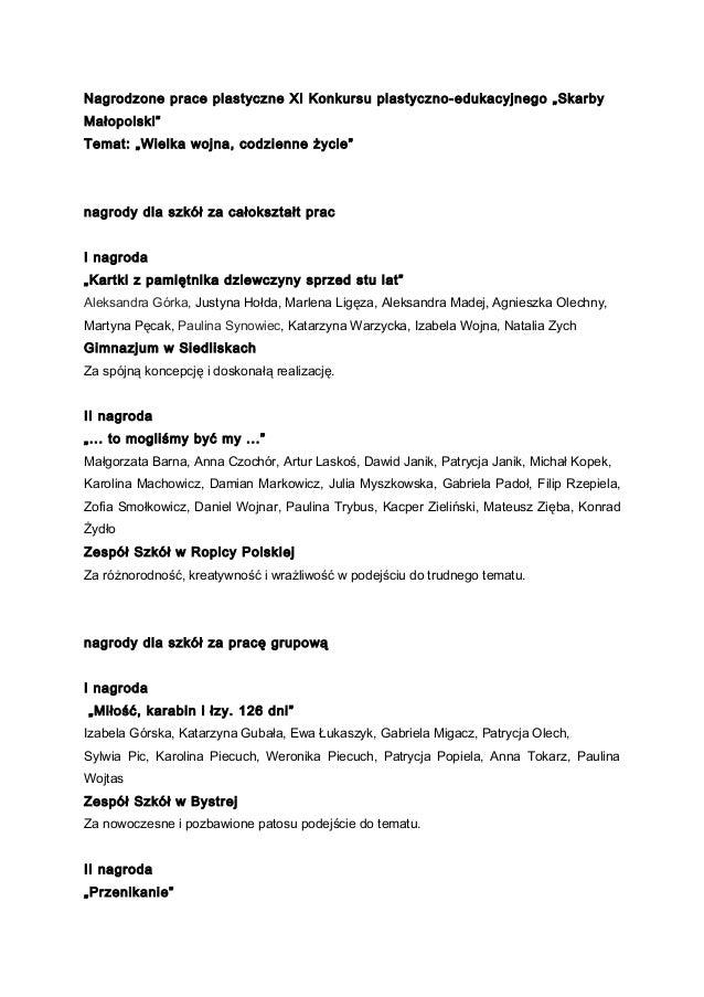 """Nagrodzone prace plastyczne XI Konkursu plastyczno-edukacyjnego """"Skarby Małopolski"""" Temat: """"Wielka wojna, codzienne życie""""..."""