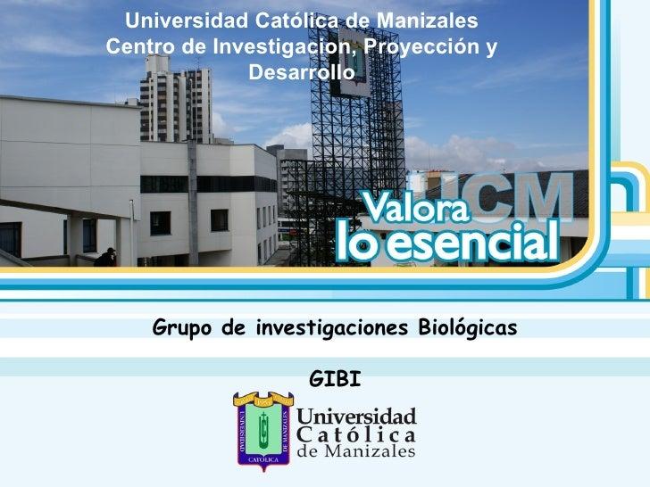 Universidad Católica de Manizales Centro de Investigacion, Proyección y Desarrollo Grupo de investigaciones Biológicas GIBI