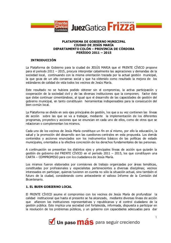 PLATAFORMA DE GOBIERNO MUNICIPAL                              CIUDAD DE JESÚS MARÍA                    DEPARTAMENTO COLÓN ...