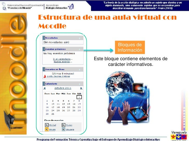 Estructura de una aula virtual conMoodle                       Bloques de                       Información             Es...