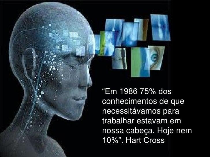 """""""Em 1986 75% dosconhecimentos de quenecessitávamos paratrabalhar estavam emnossa cabeça. Hoje nem10%"""". Hart Cross"""