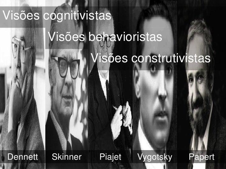 Visões cognitivistas          Visões behavioristas                    Visões construtivistasDennett   Skinner    Piajet   ...