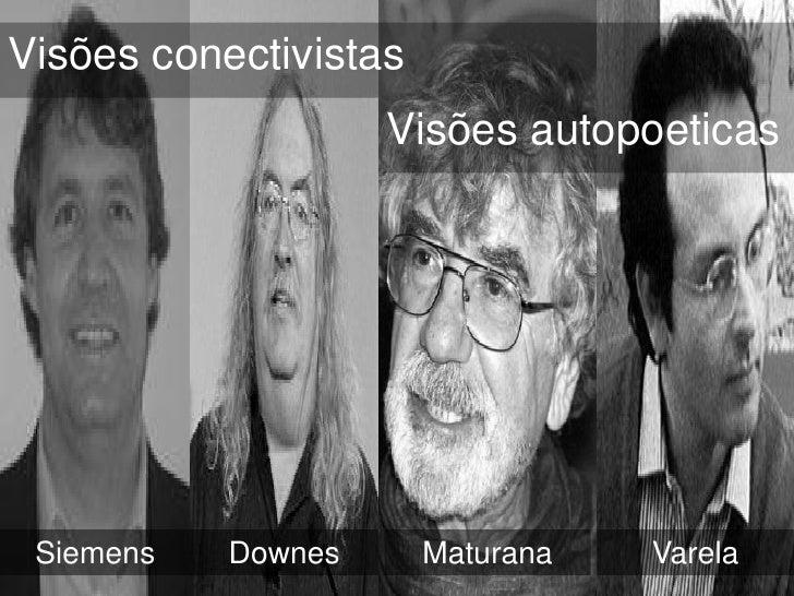 Visões conectivistas                    Visões autopoeticas Siemens   Downes      Maturana   Varela