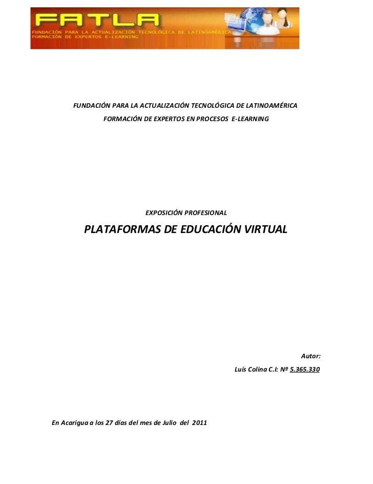 FUNDACIÓN PARA LA ACTUALIZACIÓN TECNOLÓGICA DE LATINOAMÉRICA                FORMACIÓN DE EXPERTOS EN PROCESOS E-LEARNING  ...