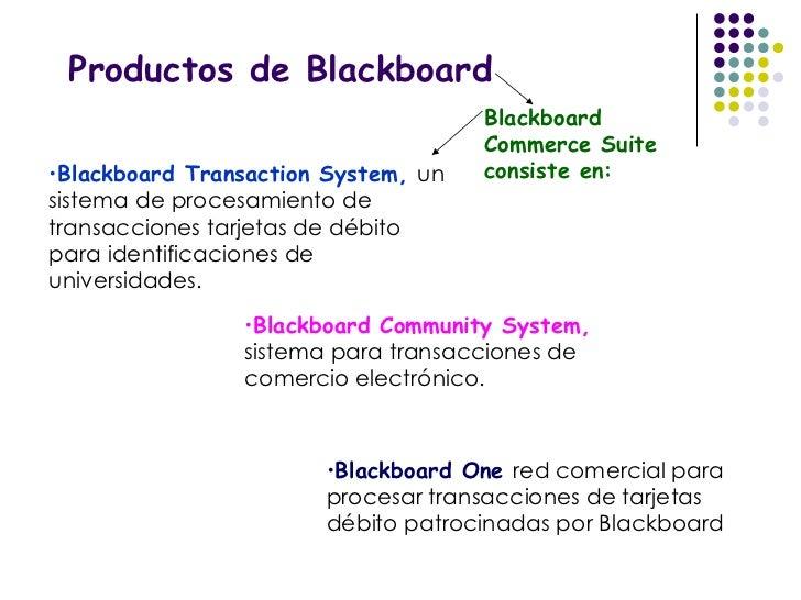 Productos de Blackboard Blackboard Commerce Suite consiste en: <ul><li>Blackboard Transaction System,  un sistema de proce...