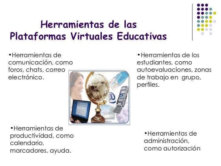 Herramientas de las Plataformas Virtuales Educativas <ul><li>Herramientas de comunicación, como foros, chats, correo elect...