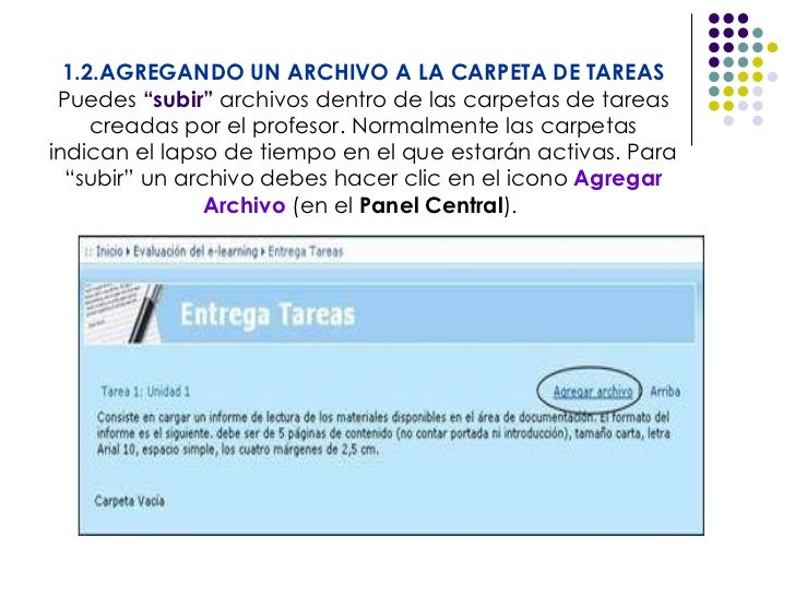 """1.2.AGREGANDO UN ARCHIVO A LA CARPETA DE TAREAS Puedes  """"subir""""  archivos dentro de las carpetas de tareas creadas por el ..."""