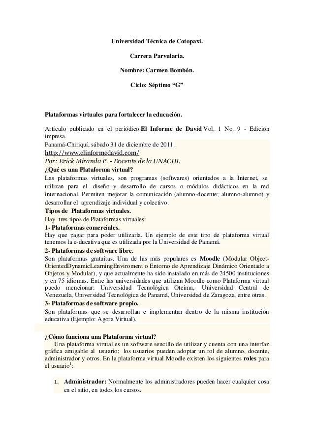 "Universidad Técnica de Cotopaxi. Carrera Parvularia. Nombre: Carmen Bombón. Ciclo: Séptimo ""G"" Plataformas virtuales para ..."