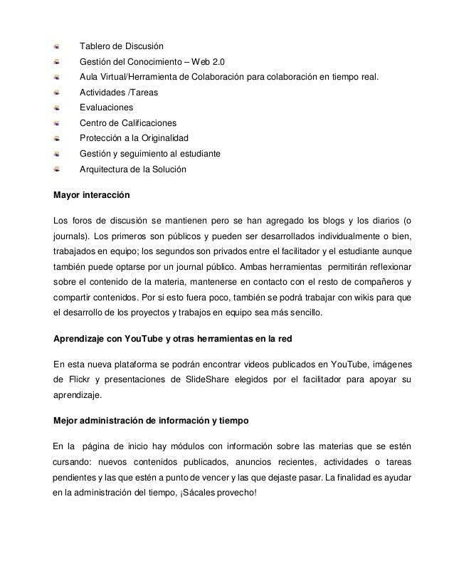 Tablero de Discusión Gestión del Conocimiento – Web 2.0 Aula Virtual/Herramienta de Colaboración para colaboración en tiem...