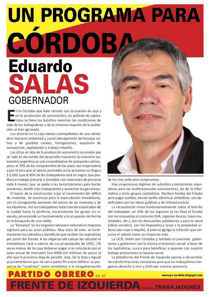 UN PROGRAMA PARACÓRDOBA Eduardo SALAS GOBERNADORE        n la Córdoba que bate récords con la cosecha de soja y        en ...
