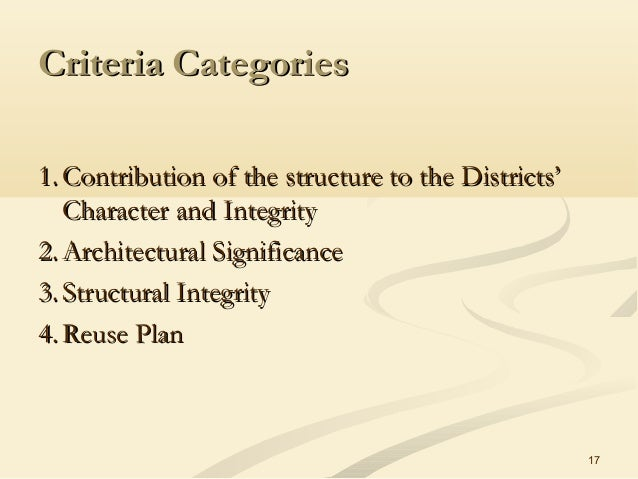 17 Criteria CategoriesCriteria Categories 1.1. Contribution of the structure to the Districts'Contribution of the structur...