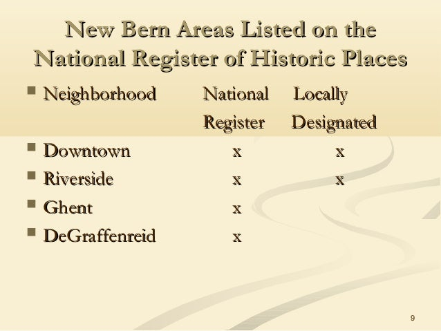 9 New Bern Areas Listed on theNew Bern Areas Listed on the National Register of Historic PlacesNational Register of Histor...
