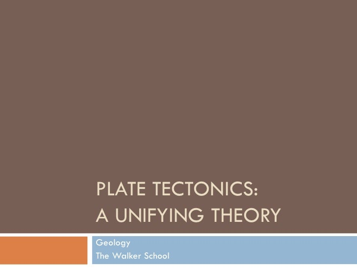 PLATE TECTONICS: A UNIFYING THEORY Geology The Walker School