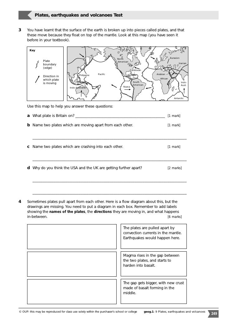 plate tectonics worksheets for middle school - Termolak