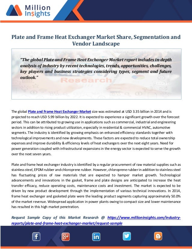 Plate and frame heat exchanger market share, segmentation and vendor …