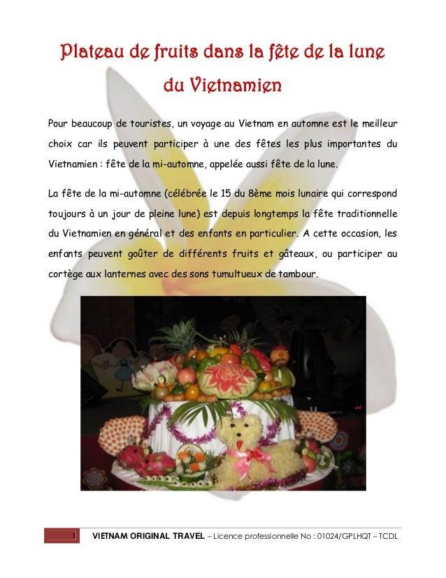 1 VIETNAM ORIGINAL TRAVEL – Licence professionnelle No : 01024/GPLHQT – TCDL Plateau de fruits dans la fête de la lune du ...