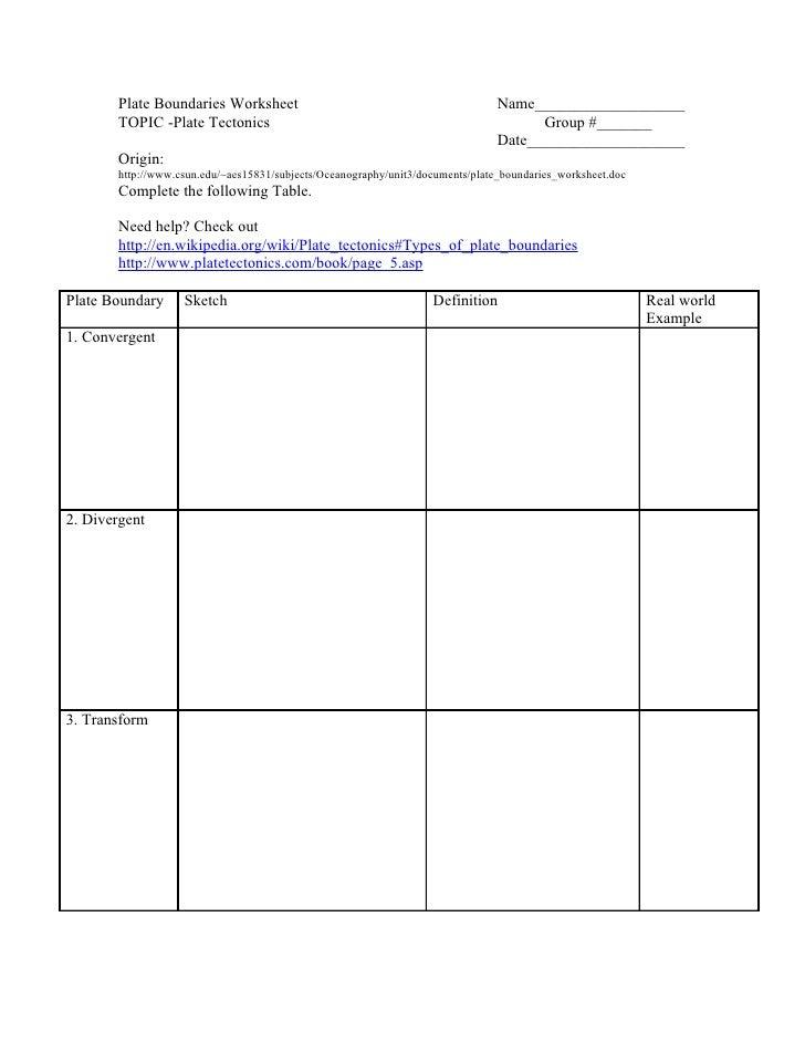 Plate Boundaries Worksheet Name___________________ ...