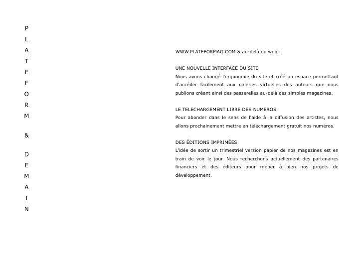 PLATEFORM Magazine - Dossier Presse