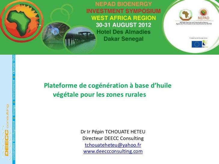Plateforme de cogénération à base d'huile   végétale pour les zones rurales           Dr Ir Pépin TCHOUATE HETEU          ...