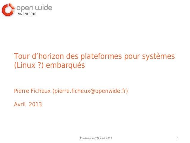 Tour d'horizon des plateformes pour systèmes(Linux?) embarquésPierre Ficheux (pierre.ficheux@openwide.fr)Avril 2013      ...