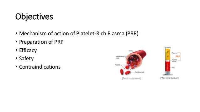 Objectives • Mechanism of action of Platelet-Rich Plasma (PRP) • Preparation of PRP • Efficacy • Safety • Contraindications