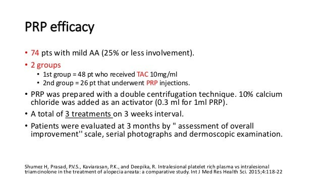 PRP Efficacy • 20 pts with chronic AA (severity unknown) that had been unsuccessfully treated for at least 2 years. • All ...